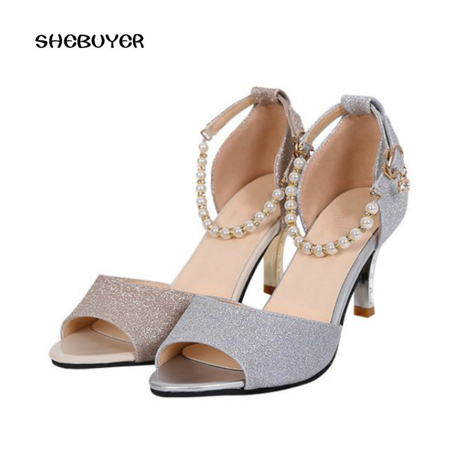 a04c38567 2018 Fashion Summer Elegant Women Casual Sandals Thin High Heels Peep-toe Beach  Shoes Bling Gold Silver Color heels high 7cm