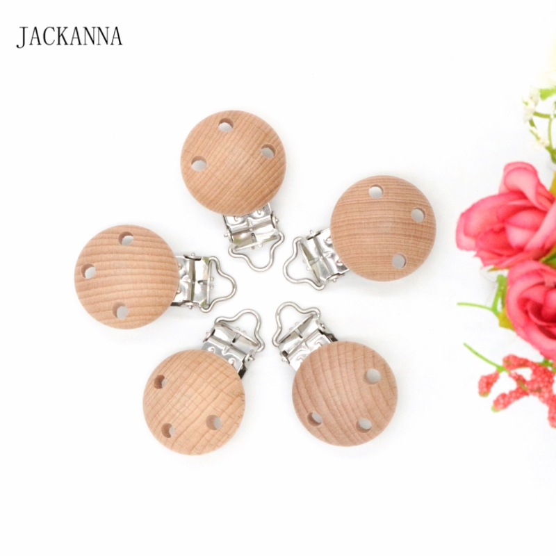 20PCS Beech Wood Baby Pacifier Holder Funny Soother Clips Wooden Dummy Clips DIY Pacifier Chain Accessories Baby Pacifier Clips