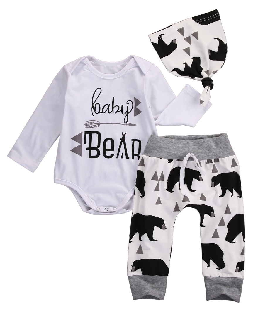 3PCS Autumn Spring Newborn Baby Boys Girls Bear Long Sleeve Letter Tops Romper+Bear Pants Hat Outfits Set Christmas Clothes