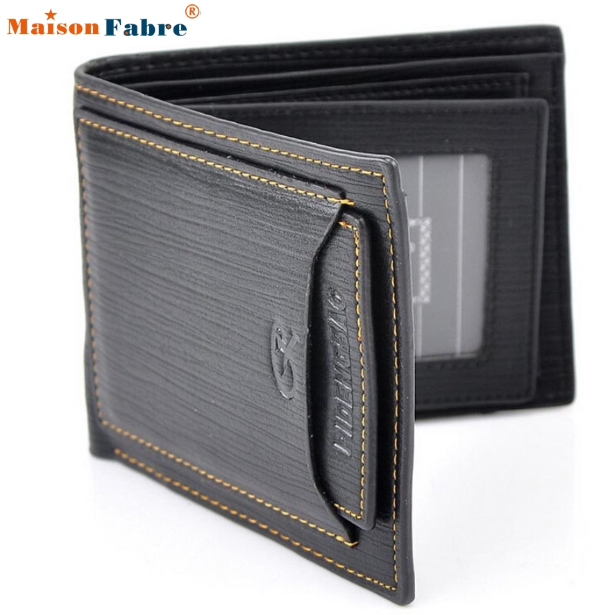 New Fashion Fashion Casual Pu Leather Men Wallets Black Colors Credit Card holder Purse Wallet For Men Free Shipping Jan 20