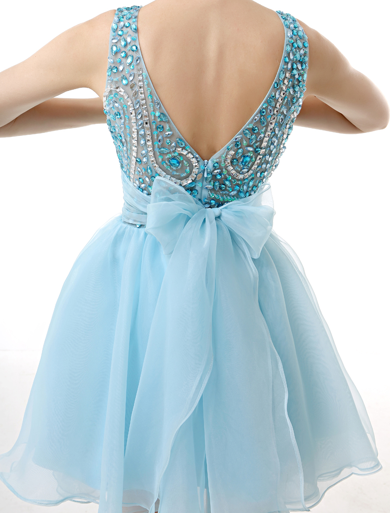 rhinestone short dress with bow-tie