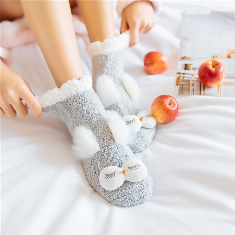 Cute Animal Socks Women Winter Velvet Warm Soft Home Bed Floor Socks Kawaii Girls Female Rabbit Owl Fluffy Socks Sleep