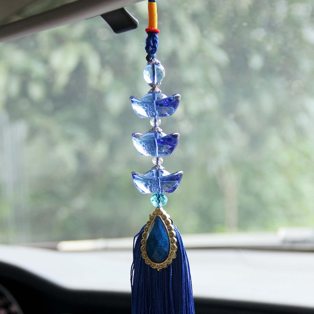 Car interior hanging - Luxury Lucky Rich Yuanbao Blessing Crystal Car Styling Car Pendant Car Accessories Hanging Ornament For Car