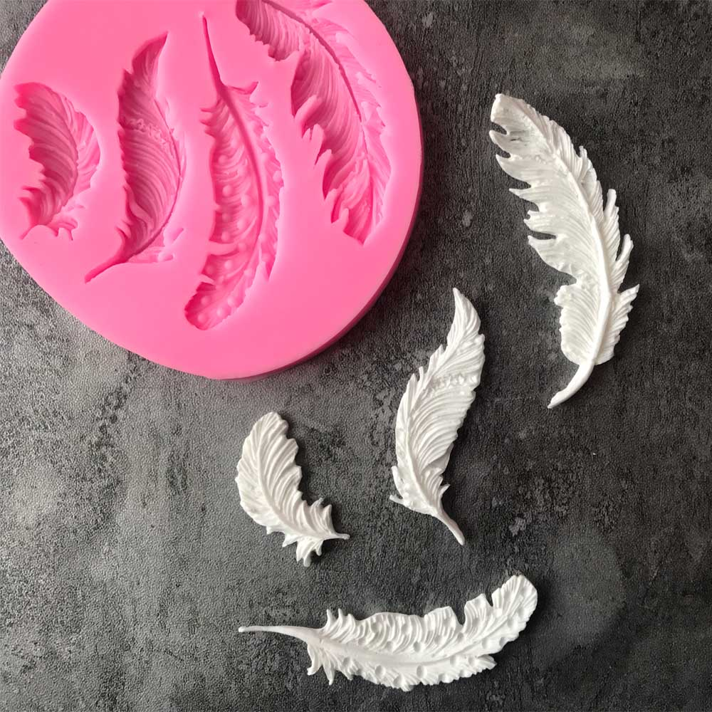 1PC Feather Sugar Buttons Silicone Mold Fondant Mold Cake Decorating Tools Chocolate Gumpaste Mold L145
