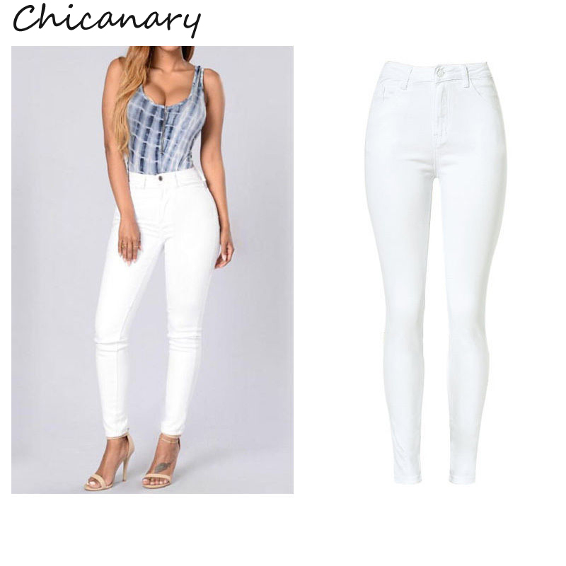 Chicanary Europe High Waist Stretchy Denim Pencil Pants Skinny Jeans 2017 Women Plus Size New Casual Jeggings Leggings