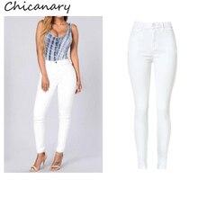 Chicanary европа высокая талия эластичный деним брюки карандаш узкие джинсы 2016 женщины плюс размер новая повседневная jeggings леггинсы