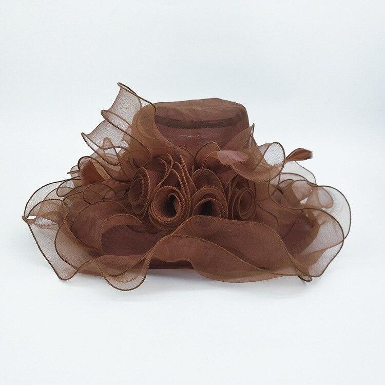 Image 5 - Женская шляпа из органзы с большим цветком и перьями, свадебная Кепка для леди Кентукки, Кепка в стиле Дерби, женская летняя широкая шляпа от солнца-in Женские шляпы солнца from Аксессуары для одежды on AliExpress - 11.11_Double 11_Singles' Day
