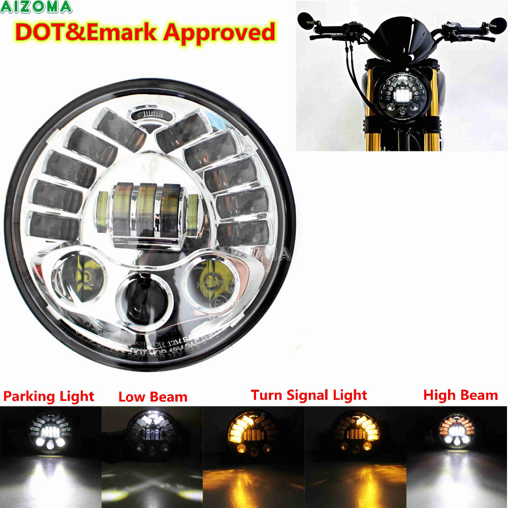 Motorcycle 7 LED Round Headlight Car Universal Hi/Lo Beam DRL Projector Headlamp For Harley Softail Touring Dyna Road King FLD arte lamp встраиваемый светильник arte lamp technika a5941pl 1wh