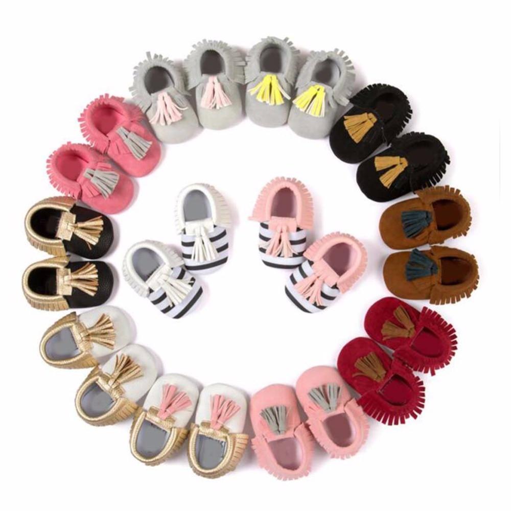 New kids tassel shoes PU Leather Newborn Baby Boy/Girls Moccasins Soft Moccs Shoes Bebe Fringe Soft Soled Non-slip Footwear
