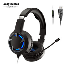 Gaming Headset Gamer Earphones Stereo Deep Bass Wired Headphones with Mic Backlit for PC PS4 Phone X-BOX Laptop 7.1 channel Hifi wired gaming headset usb 3 5mm overear stereo noise isolation gamer headphones microphone for ps4 pc mobile phone earphones mic