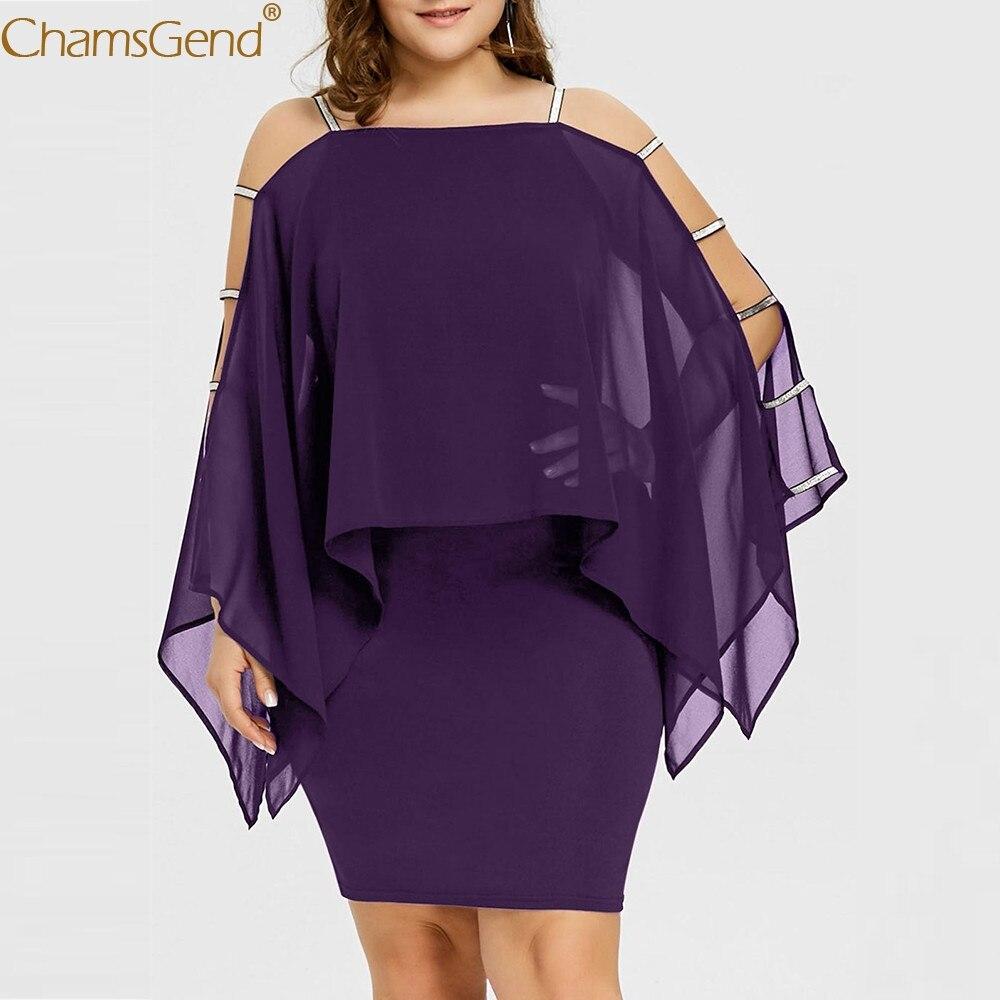 Womens dresses woman party night plus size dress women party Solid Ladder Cut Overlay summer dress 2019 Chiffon Strapless Feb6