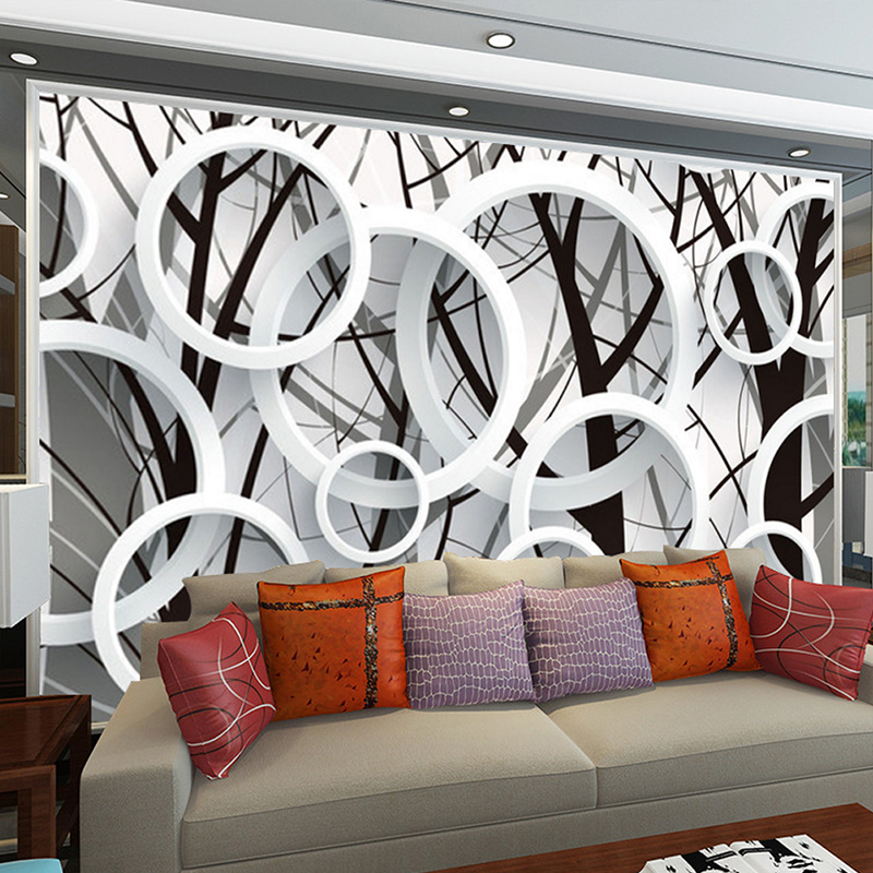 Large Mural Custom Bedroom Living Room TV Background Circle Ring Fashion Simple Wallpaper Fabric Wall Paper 3D Stereoscopic ivy large rock wall mural wall painting living room bedroom 3d wallpaper tv backdrop stereoscopic 3d wallpaper