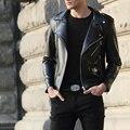 S ~ 3XL! 2016 Мужчины кожаная одежда мужская одежда верхняя одежда короткий тонкий дизайн PU мотоцикла кожаная куртка повседневная певица костюмы