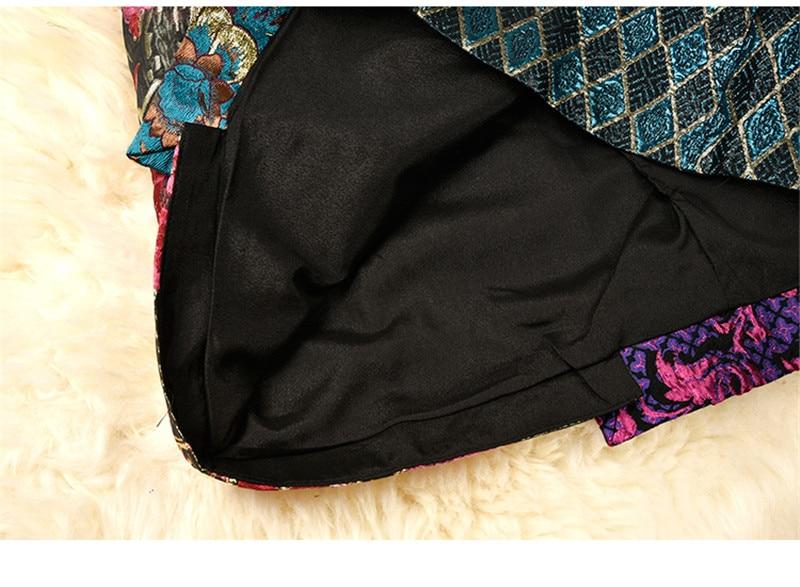 Breasted F259 Alta De Pista Calidad Patchwork Plaid Mujeres Cintura Marca Una Falda Multiple Vintage Faldas Botón Fiesta Línea Doble rfEfxnT