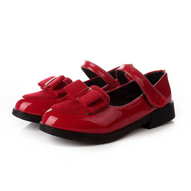 2017 New Style Patent Leather Girls Shoes Bow tie Kids Girls Flats Ballet  Shoes Children Girls 031faa3a3c03