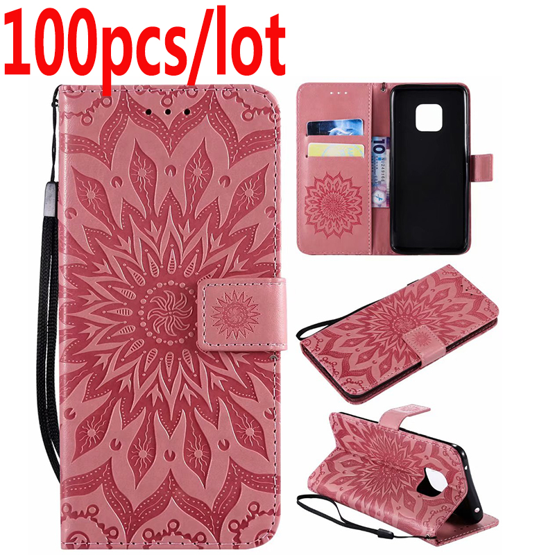 100 stks/partij Retro Reliëf zonnebloem leather Wallet case Voor Huawei Mate 20 Pro lite X case TPU + PU cover case coque Kaarthouder