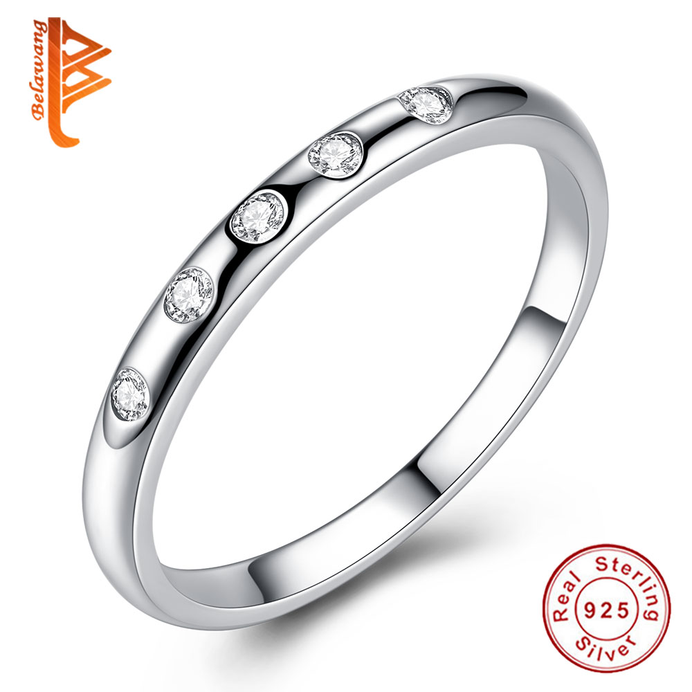 BELAWANG 925 Sterling Silver font b Rings b font With Clear CZ Droplets Stackable font b