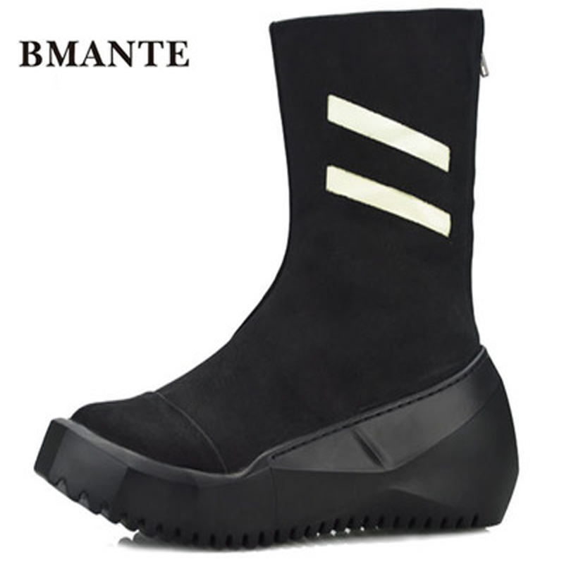 Male Adult Ankle Boots Casual Mid-Calf Flats High Men Genuine Leather Flatform Basic Shose Trainers Solid Spring Black Sneakers