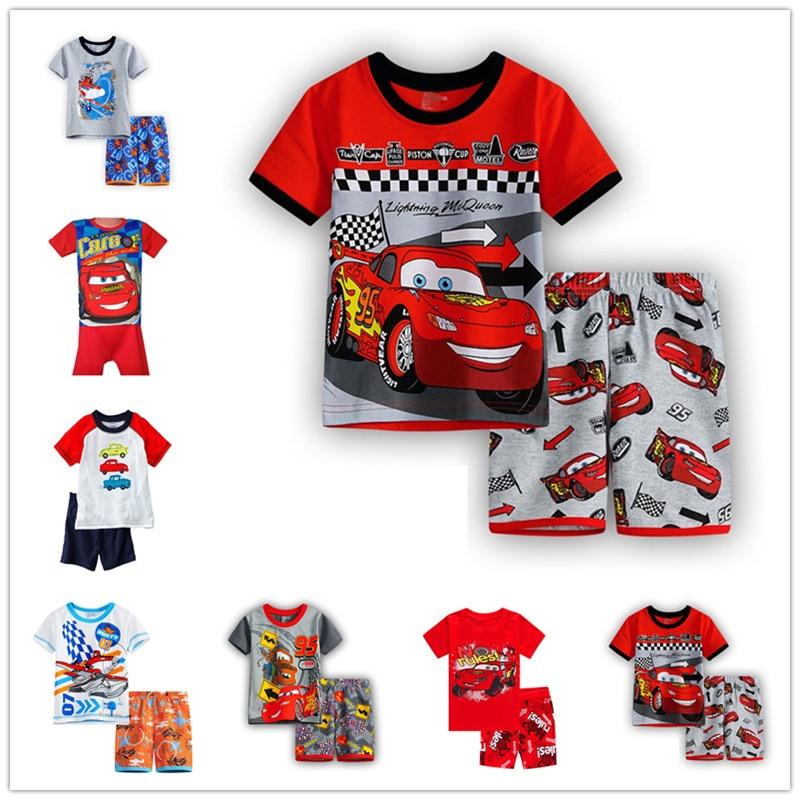 Kids Pajamas Children s Sleepwear 2019 Summer Boys short Sleeved Set Cartoon font b Cars b