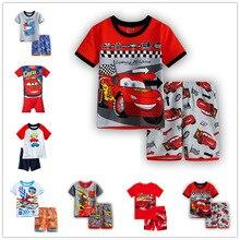 Детские пижамы детская одежда для сна коллекция 2019 года, летний комплект с короткими рукавами для мальчиков, комплект с мультяшными машинами из 2 предметов, детская одежда для мальчиков и девочек детские пижамы