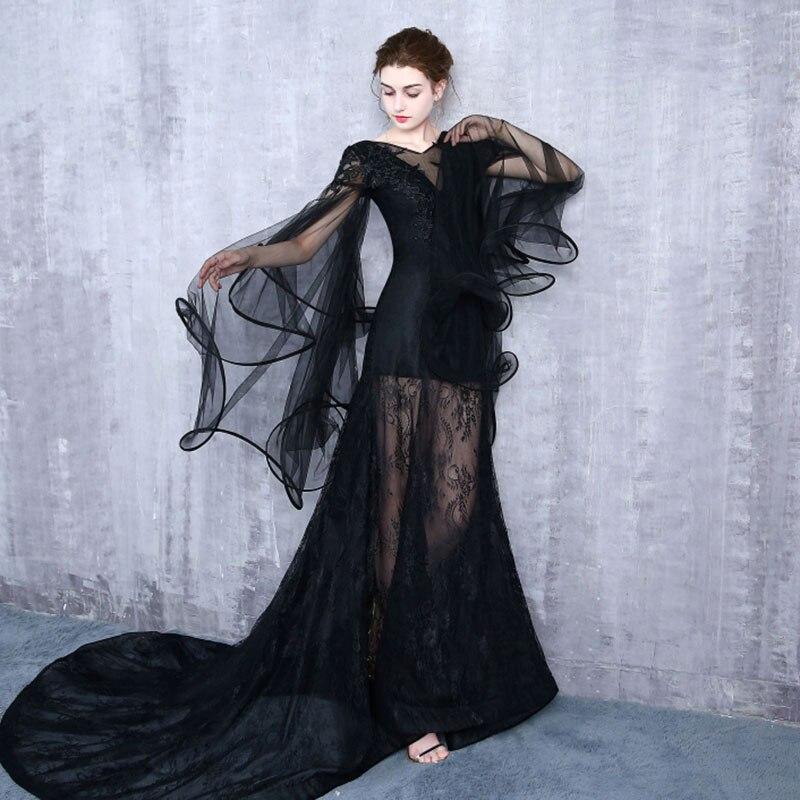 Gratis schip zwart/lichtblauw sea queen/dark queen lange vintage jurk/zee thema/studio stage lange jurk/halloween