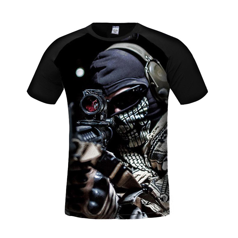 2017 Summer Personalized 3d Game T Shirt Men Short Sleeve O-Neck T shirt Cool Sniper Printed T Shirt Slim Brand Men T-Shirt image