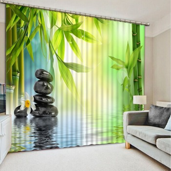 custom 3d cortinas Goose soft stone bamboo 3d living room curtains 3d window curtains kitchen door curtains living room