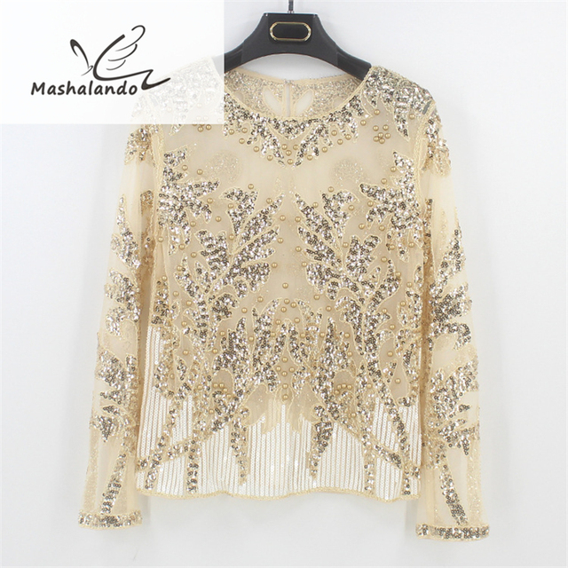 5f293aaedcd 2018 Sexy Sequined Bead Sheer Mesh Lace Long Sleeve Shirt Vintage Diamonds  Embroidery Embellished Blouse