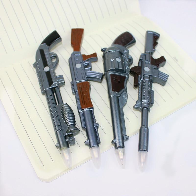 4pcs/lot Creative Simulation Pistol Weapons Ball-point Pen Fridge Magnets Kawaii Stationery Office School Supplies Kids Gift Toy