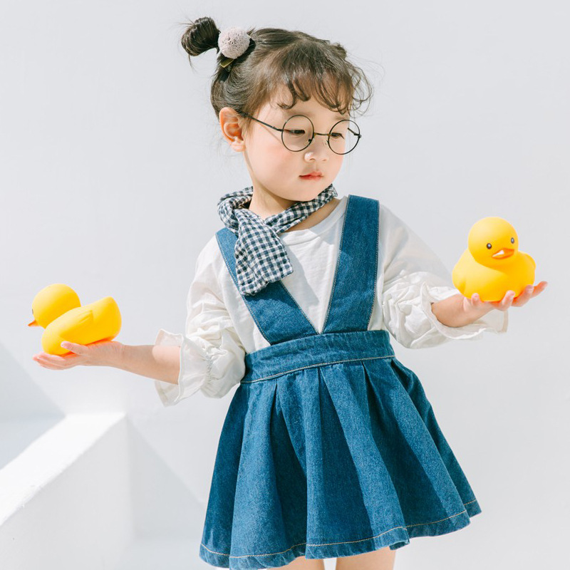 2018 New Denim Skirts for Girls Children Strap Cowboy Skirts Kids Casual Fashion Clothes High Waist Tutu Skirt Students Pleated dabuwawa autumn winter new high waist plaid elegant skirt knee length slim fit formal skirt ladies pencil skirts d16csk003