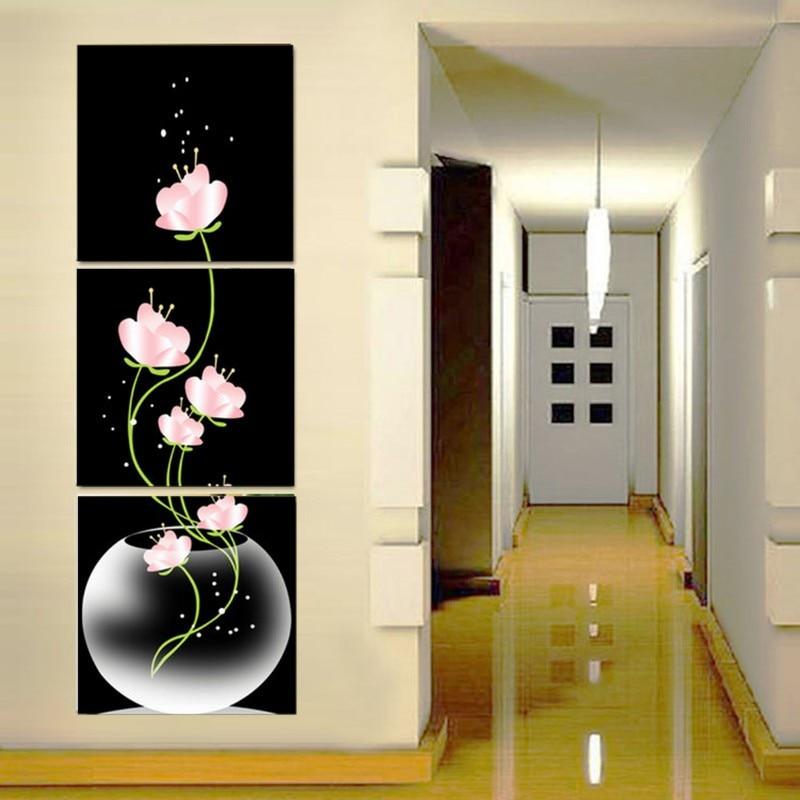 Frameless Canvas Art Oil Painting Flower Painting Design: Frameless 3 Panels Beautiful Flowers Printed On Canvas For