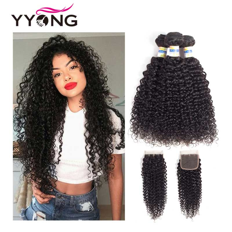 Yyong brasilianske Kinky Curly Bundles Med Closure 3 Bundles - Menneskelig hår (for svart)