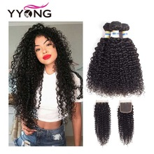 Yyong brasilianska Kinky Curly Bundles Med Closure 3 Bundles Mänskligt Hår Med Stängning Mink Hair Weave Bundlar With Closure Non Remy