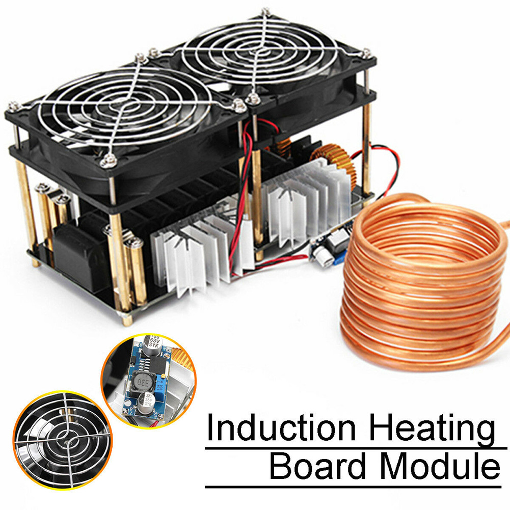 1800W ZVS DIY Induction Heating Board Convenient Stable Low Voltage Module Plate PCB Black Durable Dual Fans Coil Electronic1800W ZVS DIY Induction Heating Board Convenient Stable Low Voltage Module Plate PCB Black Durable Dual Fans Coil Electronic
