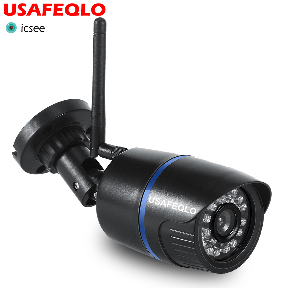 USAFEQLO ICsee Wifi IP Camera 720P 960P 1080P Wireless Wired ONVIF P2P CCTV Bullet Outdoor Camera With SD Card Slot Max 128G