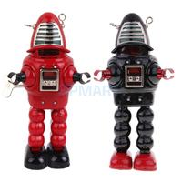 2 Pieces Retro Wind Up Clockwork Mechanical Walking Tin Planet Robot Toy
