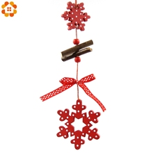 5PCS/Lot DIY Red Christmas Snowflakes & Star & Tree Wooden Pendants Ornaments