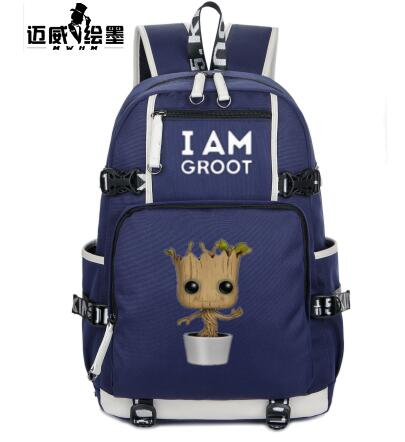 New fashion Guardians of the Galaxy I Am Groot Backpack Teenage Girl  Backpacks Men Women shoulder bag Canvas Backpack Travel bag-in Backpacks  from Luggage ...