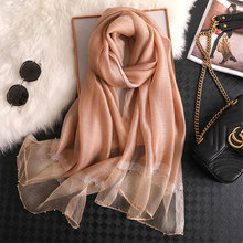 купить Winter Hijab New Arrival 2019 Solid Women Autumn Silk Scarf High Quality Antumn Scarves Shawl Wrap Bandana Foulard Pashmina дешево