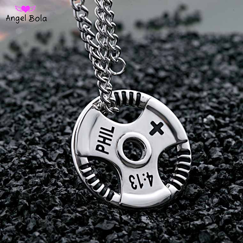 Fashion Jewelry Weight Plate Barbell Dumbbell Pendant Weightlifting Bodybuilding Fitness Crossfit Gym Exercise Necklace,Black