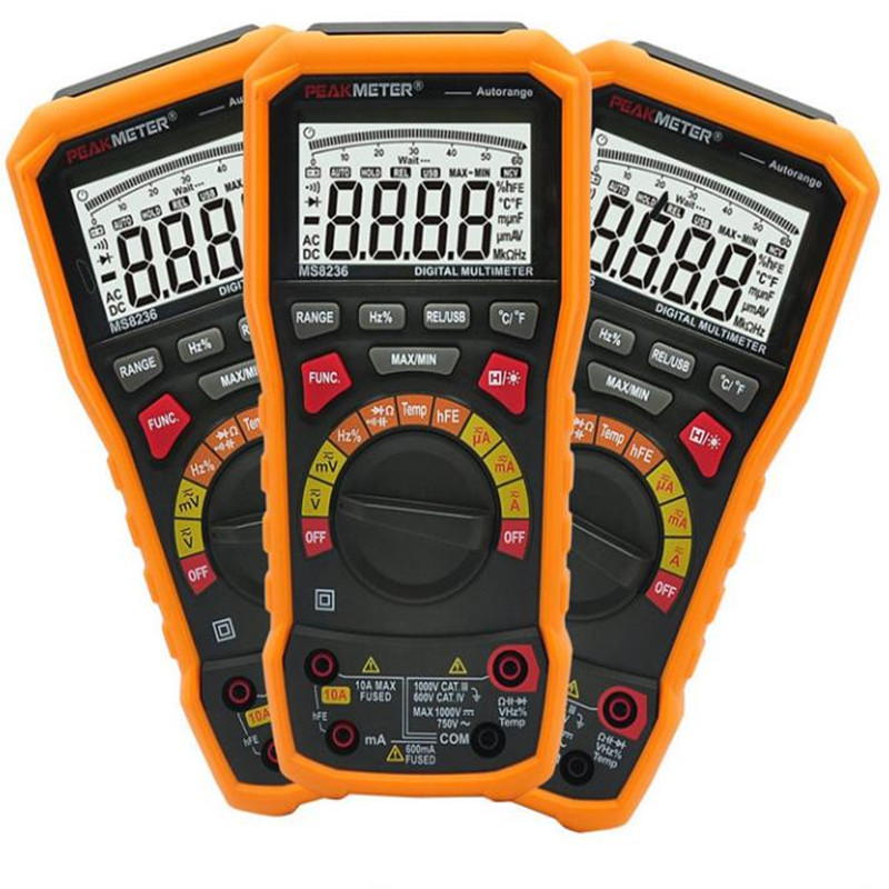 Orignal PEAKMETER PM8236 Auto manual Range Digital Multimeter AC/DC Auto Range Multimeter Temperature capacitance frequency Test digital multimeter victor vc 6056d3 4 auto range temperature test streamline design