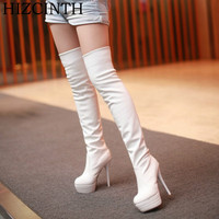 HIZCINTH 2017 Winter Thigh High Boots For Women Thin Heels Leather Platform Long Booties Sexy Over