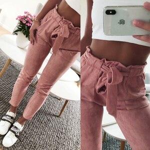Image 1 - סגנון חדש 2019 אופנה נשים זמש מכנסיים גבירותיי מכנסי עור נשי מכנסיים מזדמנים אדום יין מכנסי עיפרון גבוה מותן מכנסיים