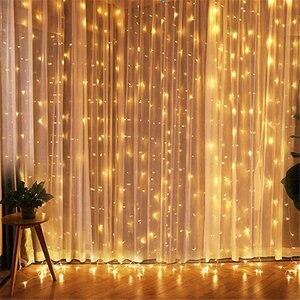 Image 1 - 3x3 led 고드름 요정 빛 플러그 eu 갈 랜드 커튼 led 문자열 램프 크리스마스 야외/실내 장식 크리스마스 결혼식 hallowen