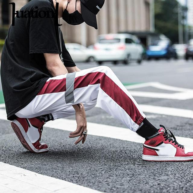 d3da2be0ba Huation Autumn Streetwear Fitness Pants Men Hip Hop Sweatpants Pockets  Casual Joggers Unisex Harajuku Sportswear Track