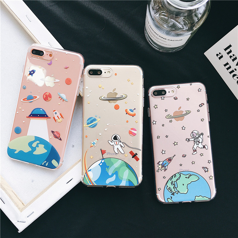 Cartoon UFO Universe Clear Slim Case For Coque iPhone 6 6s 6plus 7 8 Plus Cases for iPhone X Xs