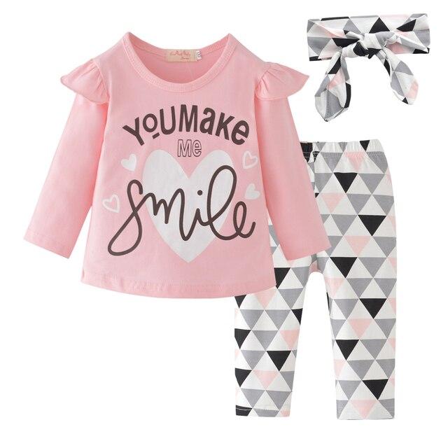 Baby Girl Clothes Fashion noworodek jesień 3 szt. Zestaw bawełniany T-shirt spodnie z pałąkiem na głowę spadek maluch stroje strój dla dziewczynek