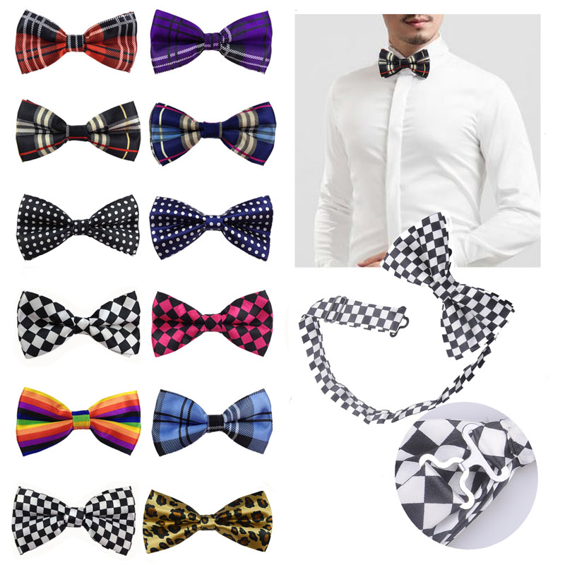 Classic Fashionable Mens Plaid Cotton Polyester Pre-Tied Adjustable Bow Ties