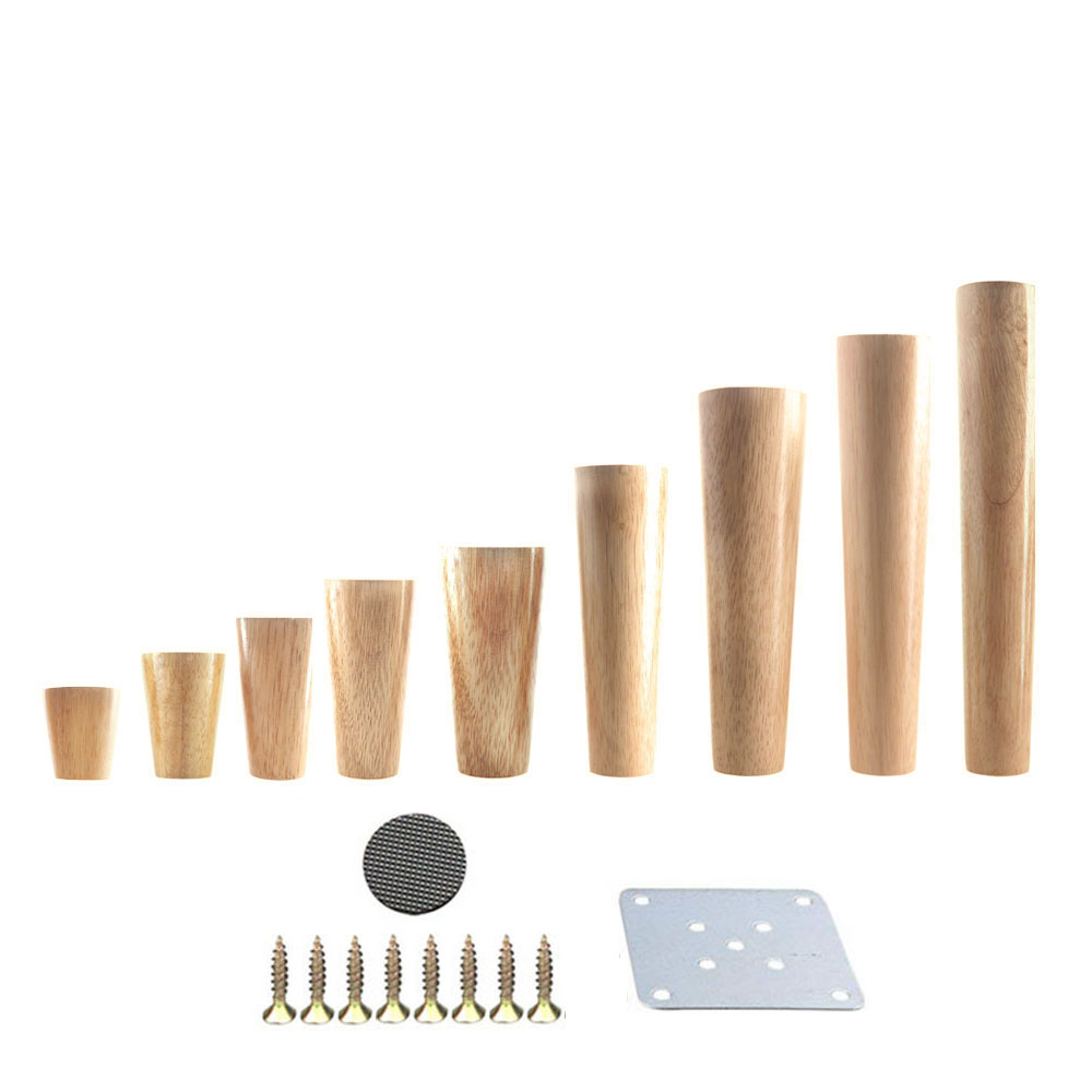 1PCS Natural Solid Wood Furniture Leg Cone Shaped Wooden Carbinet Table Leg Iron Plate Gasket Screws