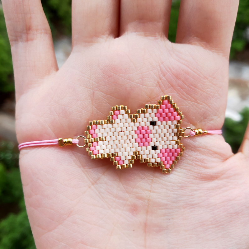 FAIRYWOO Handmade Pink Cute Piggy Bracelet Miyuki Sweet Big Pig Pendant Bracelets For Kid Girls Fashion Delica Adjustable Charms in Strand Bracelets from Jewelry Accessories